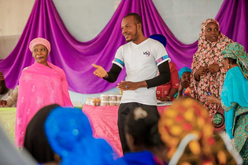 Volunteer Mohammed at Divine multipurpose co-operative meeting in Paikoro, Niger State, Nigeria.