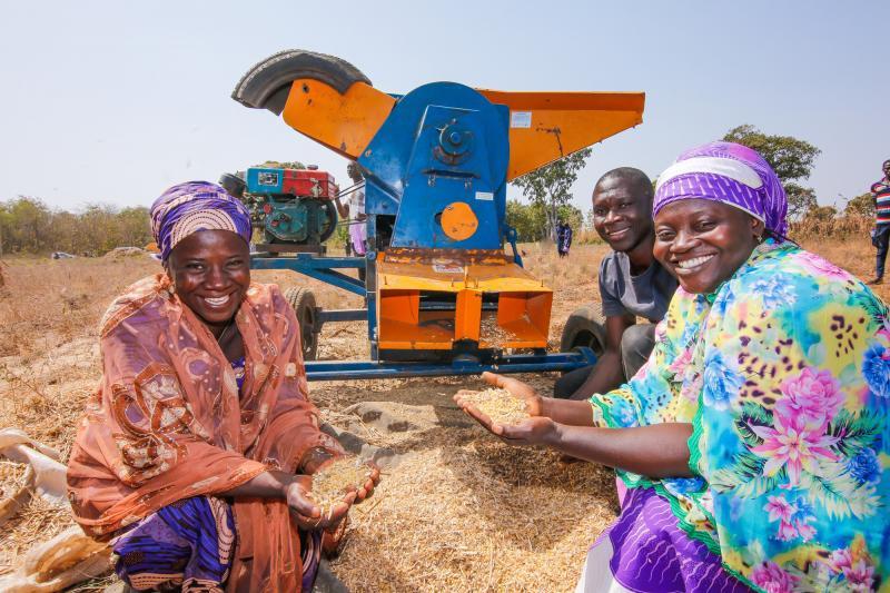 Threshing machine with two IMA4P farmers, Fatima Zubairu and Fatima Al Hassan, with volunteer Musa in Mokwa, Niger State, Nigeria.