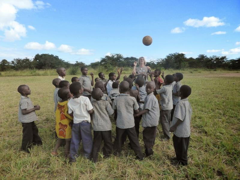 Zambia's Walter Herbert primary school children learning about the benefits of sports and exercise to help stay healthy