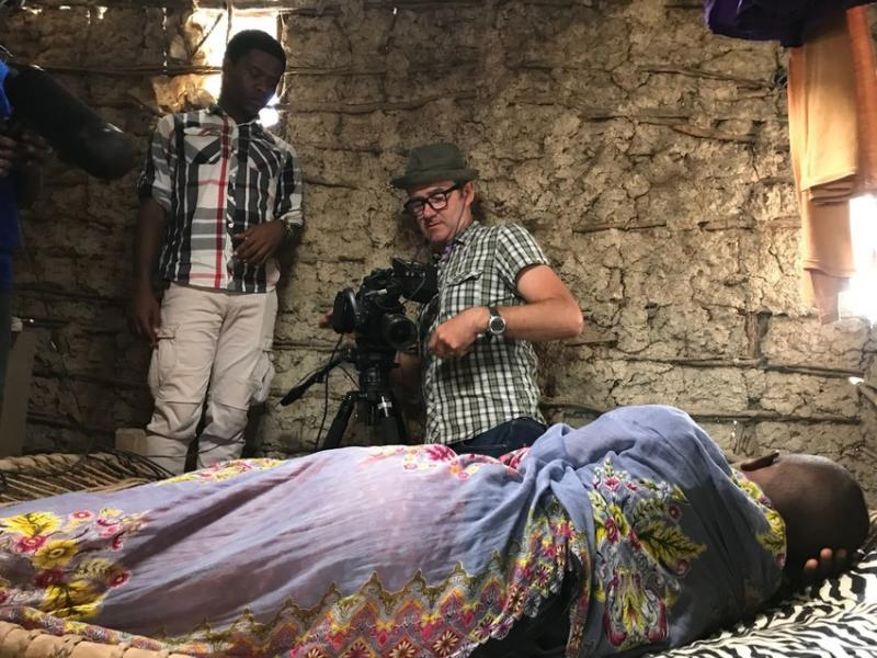 Pendo and Justin shooting a scene in Tabu