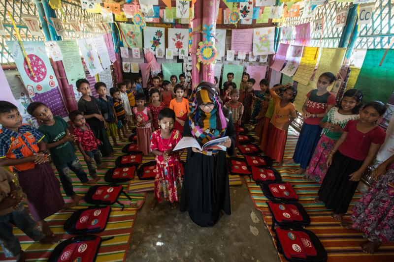 One of the learning centres built by VSO in Cox's Bazar refugee camp, so Rohingya children could have a space to play and learn.