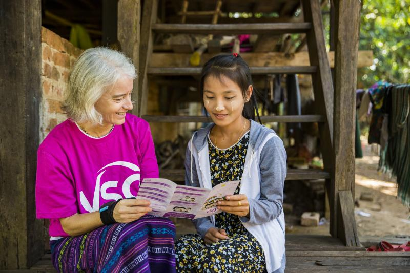 Ana Paula chats to a student about the importance of education in Mon state Myanmar.