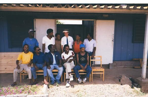 Robert with colleagues while on placement in Tanzania.