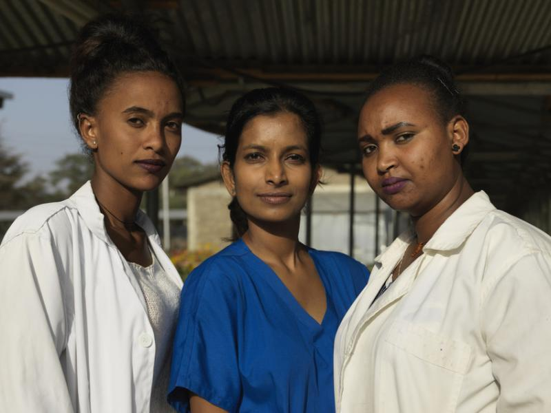Sarika and the midwives she is training in Ethiopia