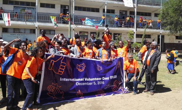 celebrating volunteer day in Ethiopia