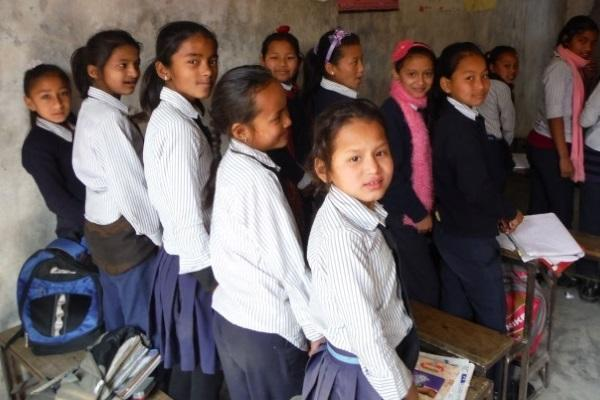 girls side of the class in Nepal