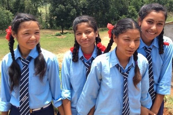 Girls happy to be at school in Nepal
