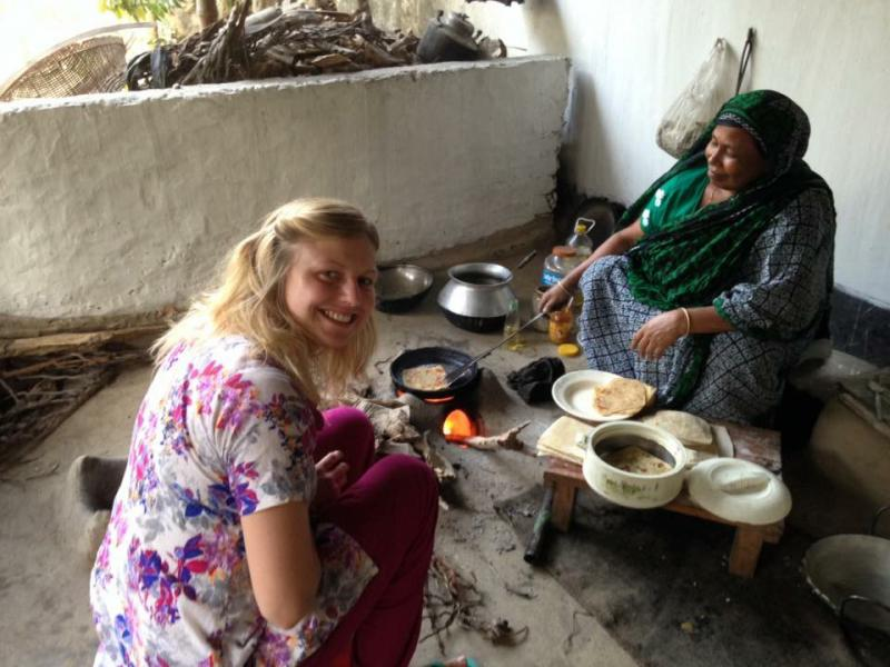Volunteer Kate Weaver in her VSO ICS host family in Bangladesh