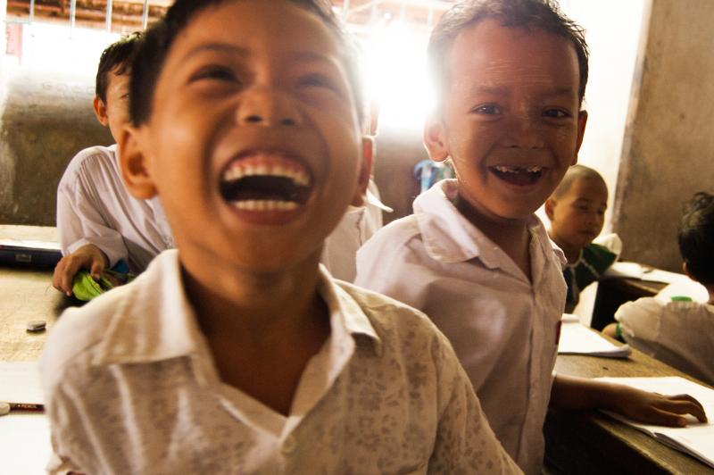 Primary school children, Myanmar