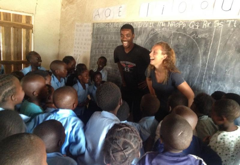 ICS volunteers doing a session at Mchmazi primary school in Zambia