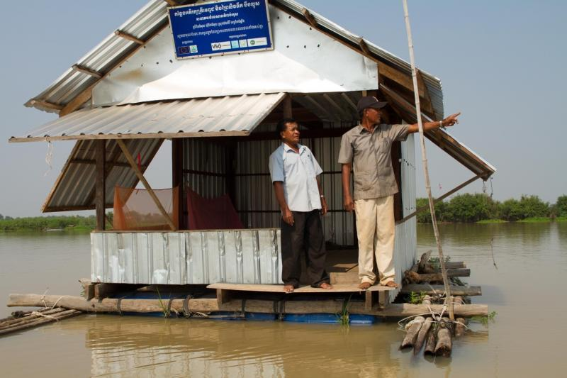 Floating guard huts help preserve fish stocks