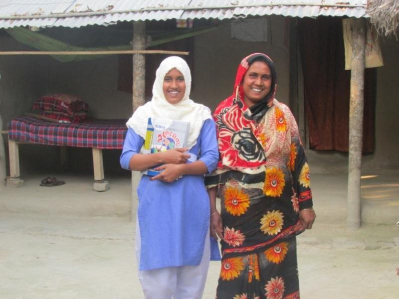 Shapla and her mother in Bangladesh