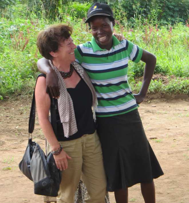 VSO volunteer Sheila Rushforth with farmer Lydia in Uganda