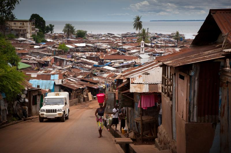 A hillside overlooking Freetown's coastal slums.