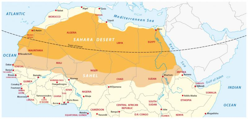 Map of the Sahara desert and Sahel zone