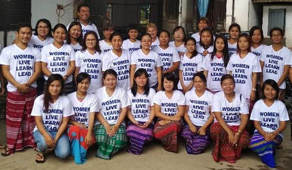Jane Stageman pictured with some of the women she worked with in Myanmar.