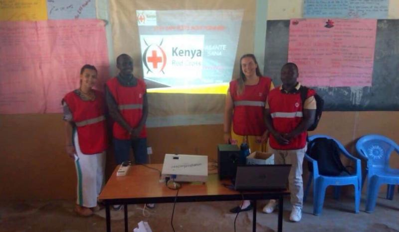 Ria Bhate with Red Cross volunteers